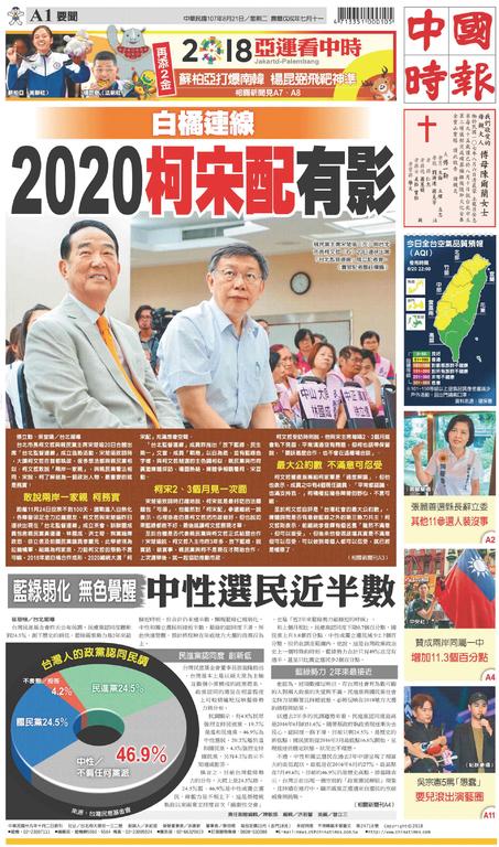 中國時報 2018年8月21日