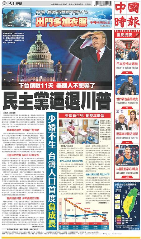 中國時報 2021年1月9日