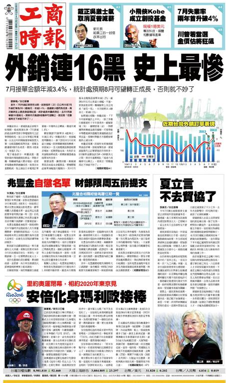 工商時報 2016年8月23日